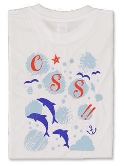 Tシャツ OSS!! 水玉とイルカ (白) 画像