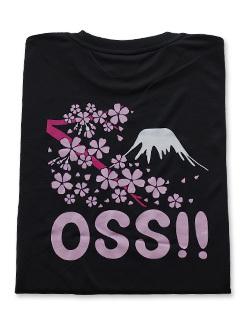 OSS!! 富士山 & 桜 Tシャツ (黒) 画像