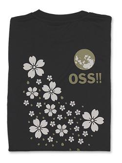 Tシャツ OSS!! 桜満月 (黒)  画像