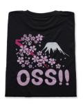 OSS!! 富士山 & 桜 Tシャツ 黒
