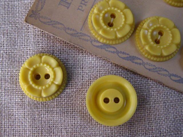 フランスアンティークプラスチックボタン(Jaune)