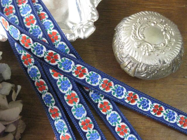 Ruban(Fleurs/ bleu fonce)
