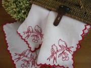 刺繍入りアンティークハンドメイドテーブルナプキン(B)A,B,C