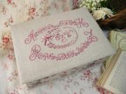 アルファベットガーデン・ピンク刺繍入りファブリックボックス