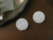 フランスアンティークガラスボタン(Fleur/blanc)