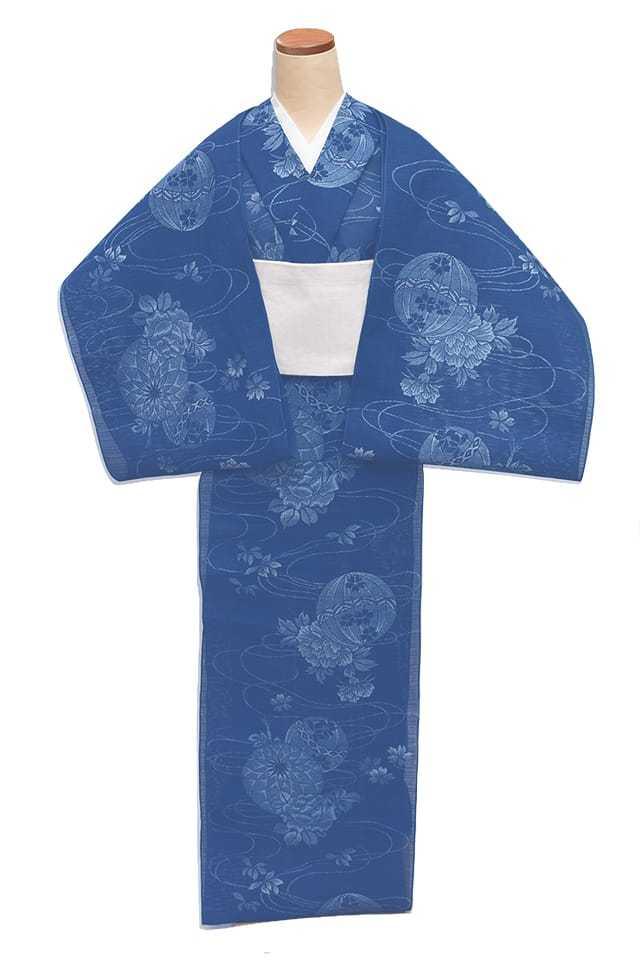 【反物】女性 『絽小紋中形』手毬に牡丹と薔薇と桜