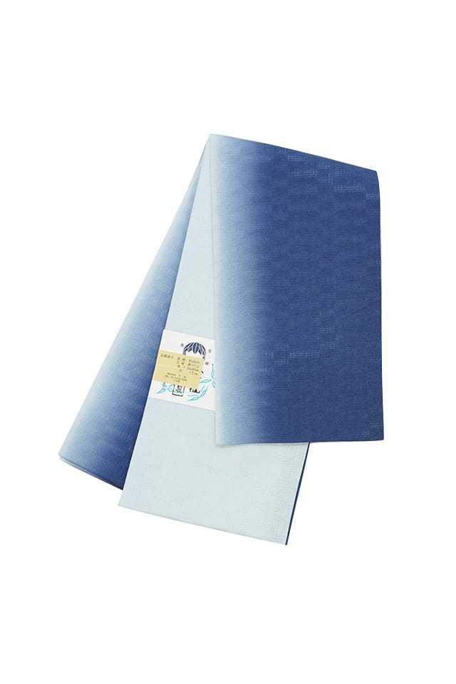 【麻市松半巾帯】藍鼠ぼかし