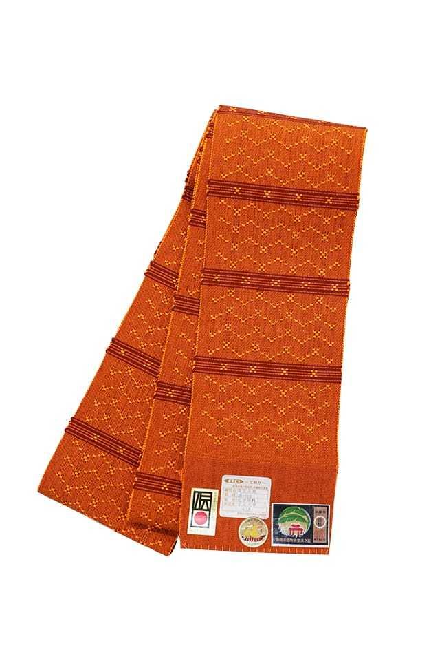 【道屯花織半巾帯】オレンジ地 臙脂竪縞