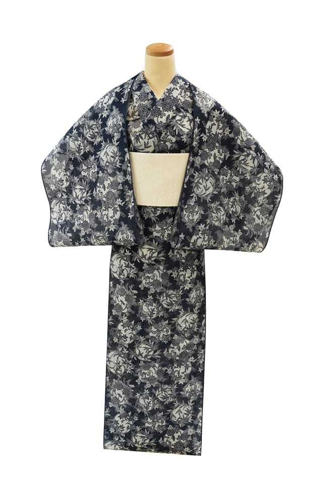 【反物】女性 『絹紅梅』花丸 菊桐竹楓蘭