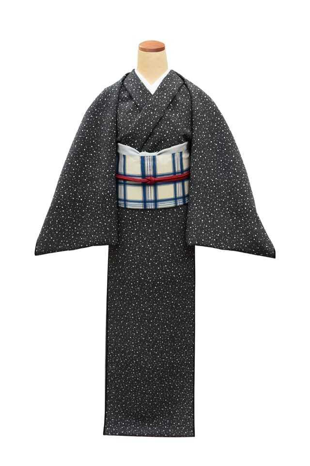 『江戸小紋』 大小霰 黒