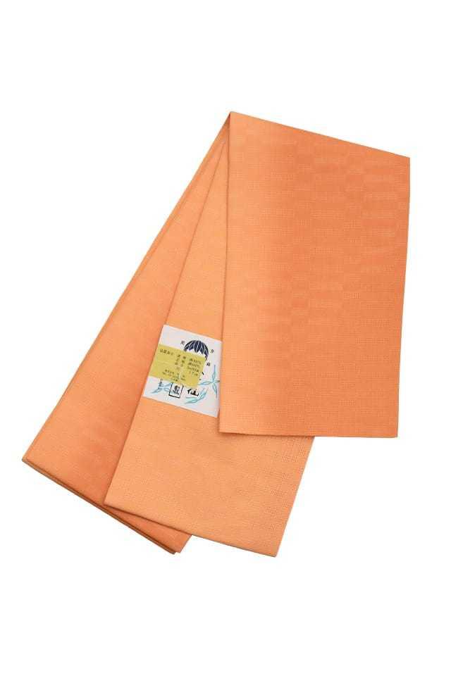 【麻市松半巾帯】 オレンジぼかし