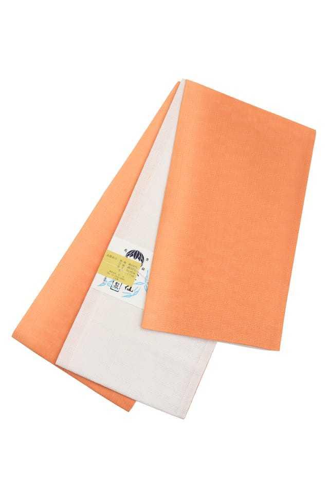 【麻市松半巾帯】 オレンジ×白