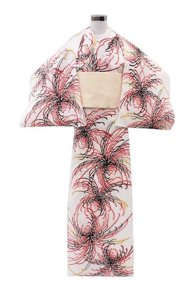 【通販限定浴衣反物】女性 『綿絽白地』赤黒黄乱菊