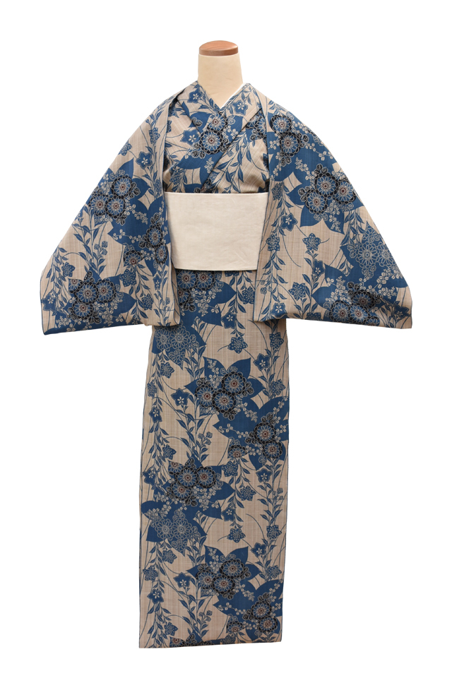 【反物】女性 『奥州小紋』桔梗に菊