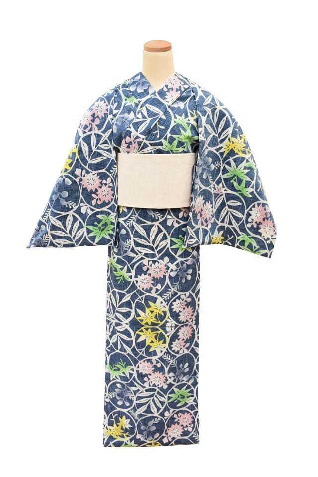 【反物】女性 『紬ゆかた』草花輪繋ぎ 差分 ブルー地