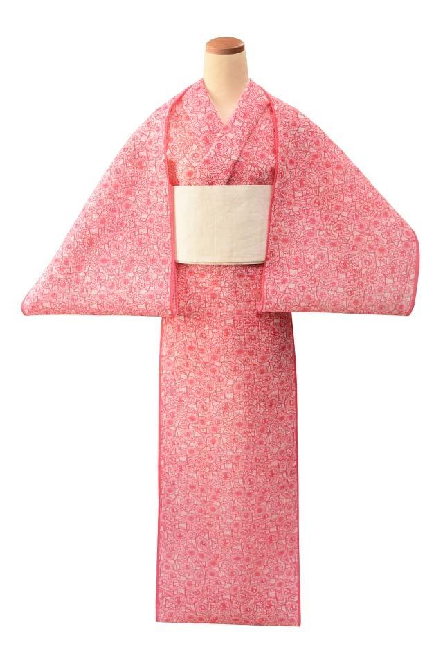 【反物】女性 『絹紅梅』白地ピンク小花尽し