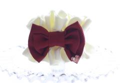 【親子お揃いプレゼント】クリーム&ボルドーリボンのママシュシュ【出産祝い/誕生日/妻/クリスマス】