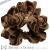 親子お揃いシュシュ(ペアヘアアクセサリー)専門店ジュメルベロアツイード高級シュシュDIVA茶ベロアブラウンキャメルツイード画像