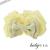 【親子お揃いプレゼント】マカロンパステルイエローとベージュリボンシュシュ形ベビーラトル【出産祝い/誕生日/記念】サイズ