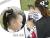 親子お揃いシュシュ(ペアヘアアクセサリー)専門店ジュメル黒ドットと黒リボンガールズシュシュ【出産祝い/誕生日/子ども】メイン3