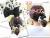 親子お揃いシュシュ専門店ジュメルパステルドーナツブラックドットとブラックリボンガールズシュシュママのアレンジ画像