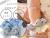 【親子お揃いプレゼント/出産祝い】水色ギンガムチェックとブルーリボンのベビーシュシュ【出産祝い/ペア/誕生日/ジュメル神戸】メイン