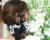 親子お揃い(ペアヘアアクセサリー)専門店ジュメルホワイトシフォン黒ドットのママシュシュドーナツ【出産祝い/誕生日/妻】メイン1