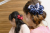 【親子お揃いプレゼント】ネイビーとボーダーネイビーリボンのママシュシュ【出産祝い/誕生日/ジュメル神戸/クリスマス】画像