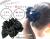 親子お揃い(ペアヘアアクセサリー)専門店ジュメルブラックサテンと黒ドットリボンガールズシュシュ【出産祝い/誕生日/子ども】メイン