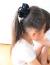 【親子お揃いプレゼント】ブラックサテンと黒ドットリボンのガールズシュシュ【出産祝い/ペア/誕生日/ジュメル神戸/子ども】3