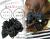 親子お揃いシュシュ(ペアヘアアクセサリー)専門店ジュメルブラックサテンと黒ドットリボンママシュシュ【出産祝い/誕生日/妻】メイン