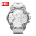 (送料無料) DIESEL ディーゼル デュアルタイム クロノグラフ アナログ腕時計 DZ7265 ホワイトレザーベルト 並行輸入品