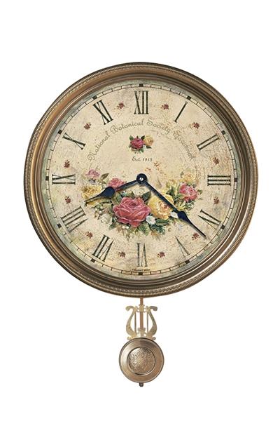 お洒落なアンティーク真鍮ベゼル&振り子掛け時計Savannah Botanical VII620-440