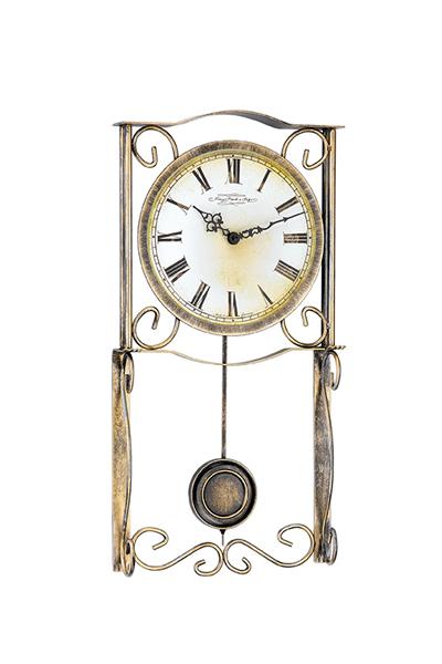 お洒落な手作りロートアイアンアン飾りのティーク調デザイン掛時計/HM70967-002200