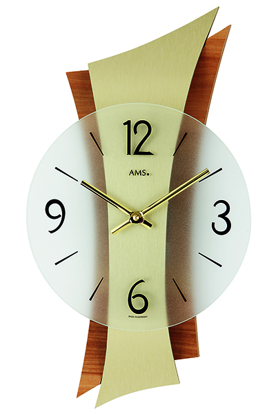 スタイリッシュなデザイン掛時計。(ナチュラル/ゴールド)AMS9396