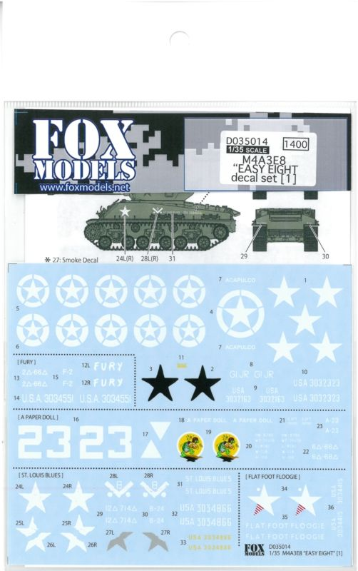 "D035014 1/35 M4A3E8 ""EASY EIGHT decal set [1] FOX MODELS"