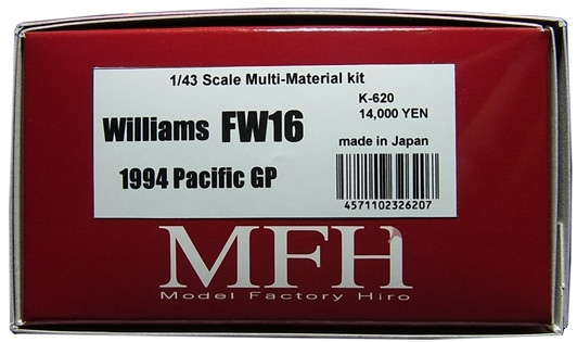 K620 【 Ver.C】 Williams  FW16 Pacific GP 1/43scale Multi-Material Kit★他社製スポンサーデカールセット★