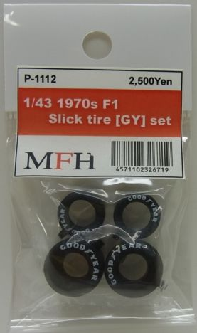 P1112  1/43scale 1970s F1 Slick tire [GY]  set