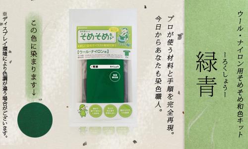 【限定:染め粉調合品】ウール・ナイロン用 そめそめ和色キット 緑青色