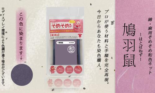 【限定:染め粉調合品】綿・麻用 そめそめ和色キット 鳩羽鼠