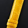 【高級腕時計との相性も抜群!中南米産カイマンワニのグレージング仕上の日本品質!】最高級カイマンワニベルト・山吹色(17mm幅)SSミラー仕上バックル
