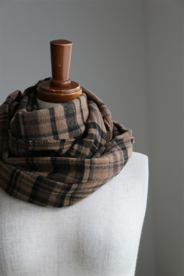 <SALE>NAMP1751 ARMEN COTTON CHECK SCARF 3色