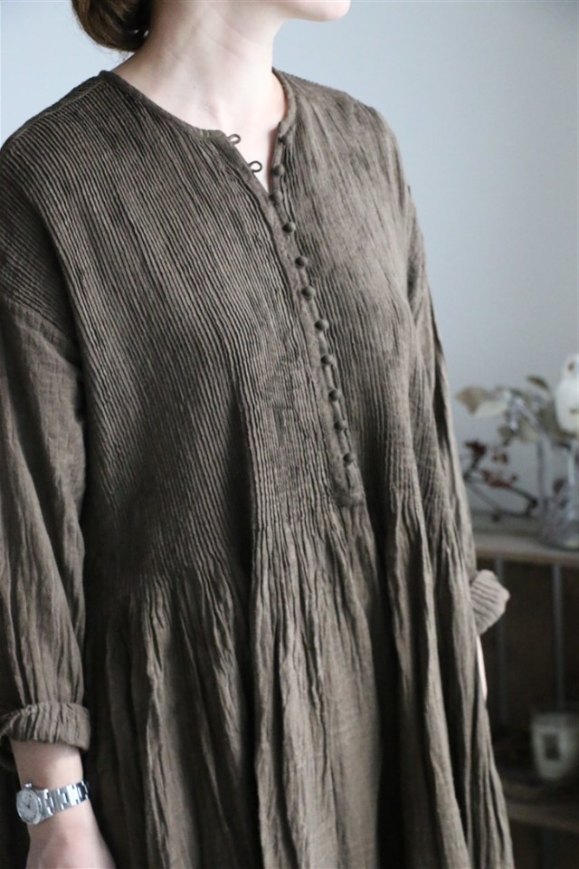INMDS18612 maison de soil BALL BUTTON CREW-NECK P/O SHIRT DRESS 3色