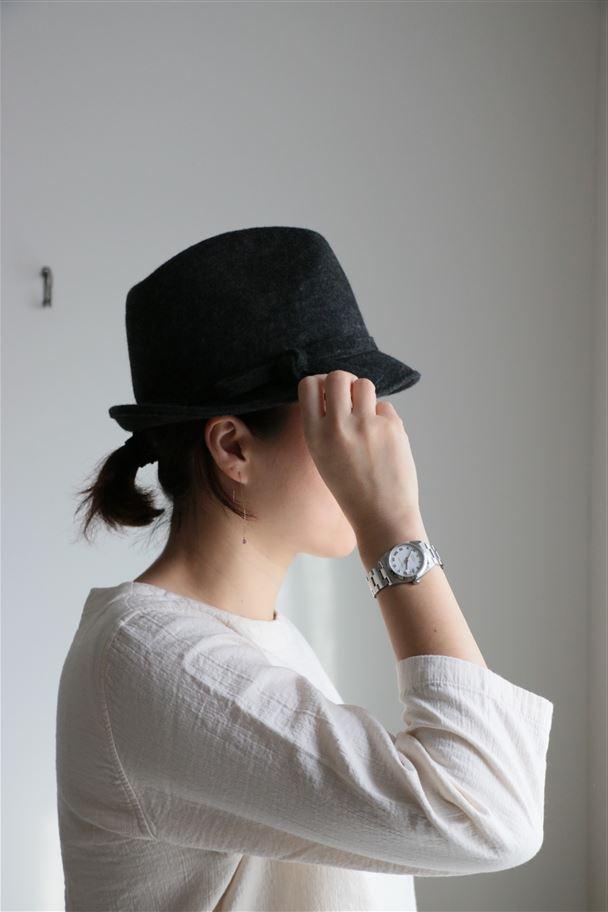 NLB1571 LUCIANO BERNI FELT HAT WITH FELT RIBBON 2色