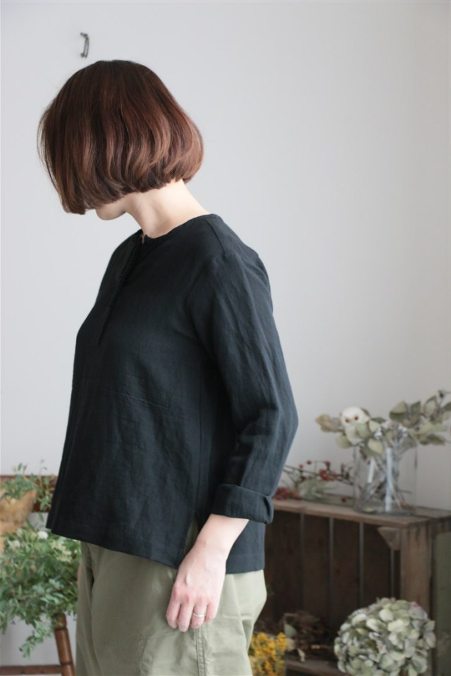 S005 si si si IRISH LINEN BLOUSE 2色