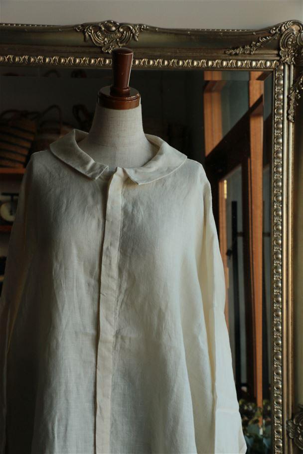 131219 vlas blomme リボンワイドシャツ