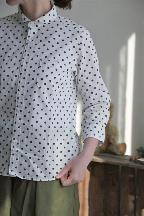 82716 prit 綿麻キャンブリック水玉プリント7分袖ラウンドカラーシャツ 3色