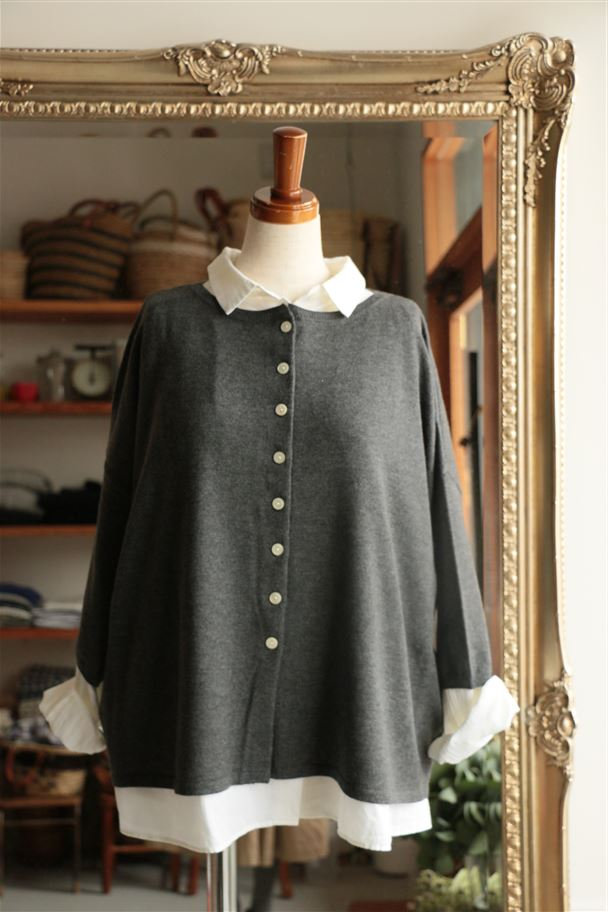 STAMP AND DIARY 2way Crew neck Wide Cardigan 7色