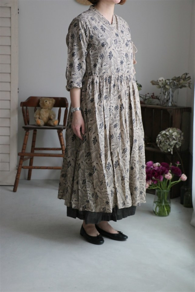 INMDS18172 MAISON DE SOIL GATHERED L/SL CACHE-COEUR DRESS 2色