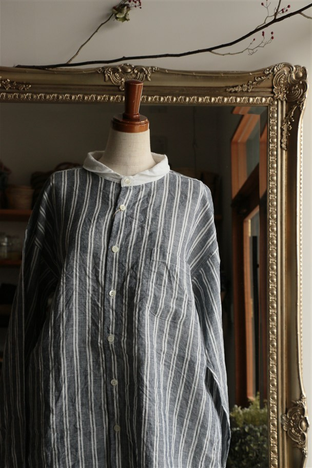 81735 prit 60/1フレンチリネンストライプバンドカラークレリックオーバーサイズシャツ 2色